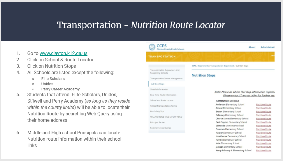 Nutrition Route Locator